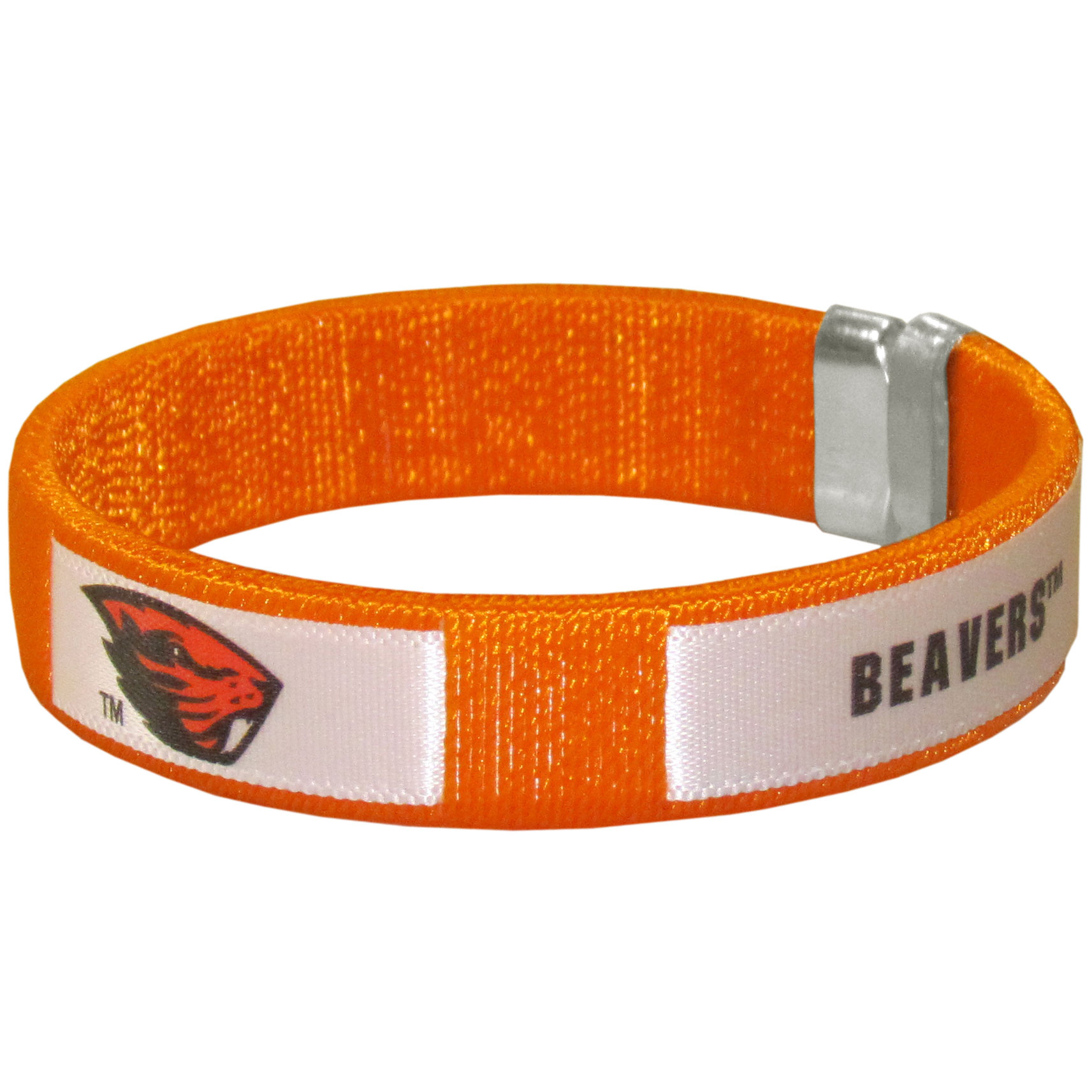 Oregon St. Beavers Fan Bracelet - Our Fan Bracelet is a one size fits all string cuff bracelets with a screen printed ribbon with the team Oregon St. Beavers name and logo.