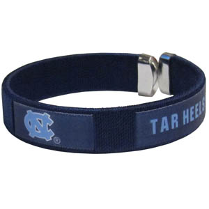 N. Carolina Fan Band Bracelet - Our N. Carolina Tar Heels fan band is a one size fits all string cuff bracelets with a screen printed ribbon with the team name and logo. Thank you for shopping with CrazedOutSports.com