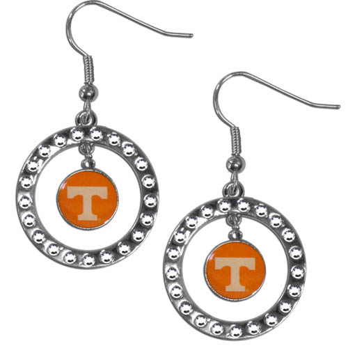 Tennessee Rhinestone Hoop Earrings - Our officially licensed rhinestone hoop earrings comes on an hypo-allergenic fishhook posts  and features a hoop covered in rhinestones with a high polish chrome finish and a Tennessee Volunteers logo dangling in the center. Thank you for shopping with CrazedOutSports.com