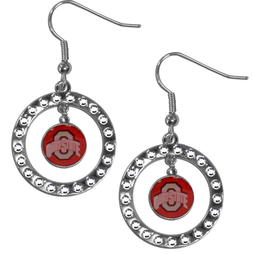 Ohio St. Buckeyes Rhinestone Hoop Earrings - Our officially licensed rhinestone hoop earrings comes on an hypo-allergenic fishhook posts  and features a hoop covered in rhinestones with a high polish chrome finish and a Ohio St. Buckeyes logo dangling in the center.