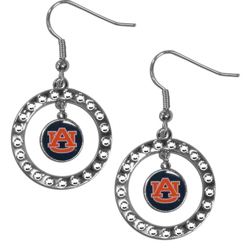 Auburn Tigers Rhinestone Hoop Earrings - Our officially licensed rhinestone hoop earrings comes on an hypo-allergenic fishhook posts  and features a hoop covered in rhinestones with a high polish chrome finish and a Auburn Tigers logo dangling in the center. Thank you for shopping with CrazedOutSports.com