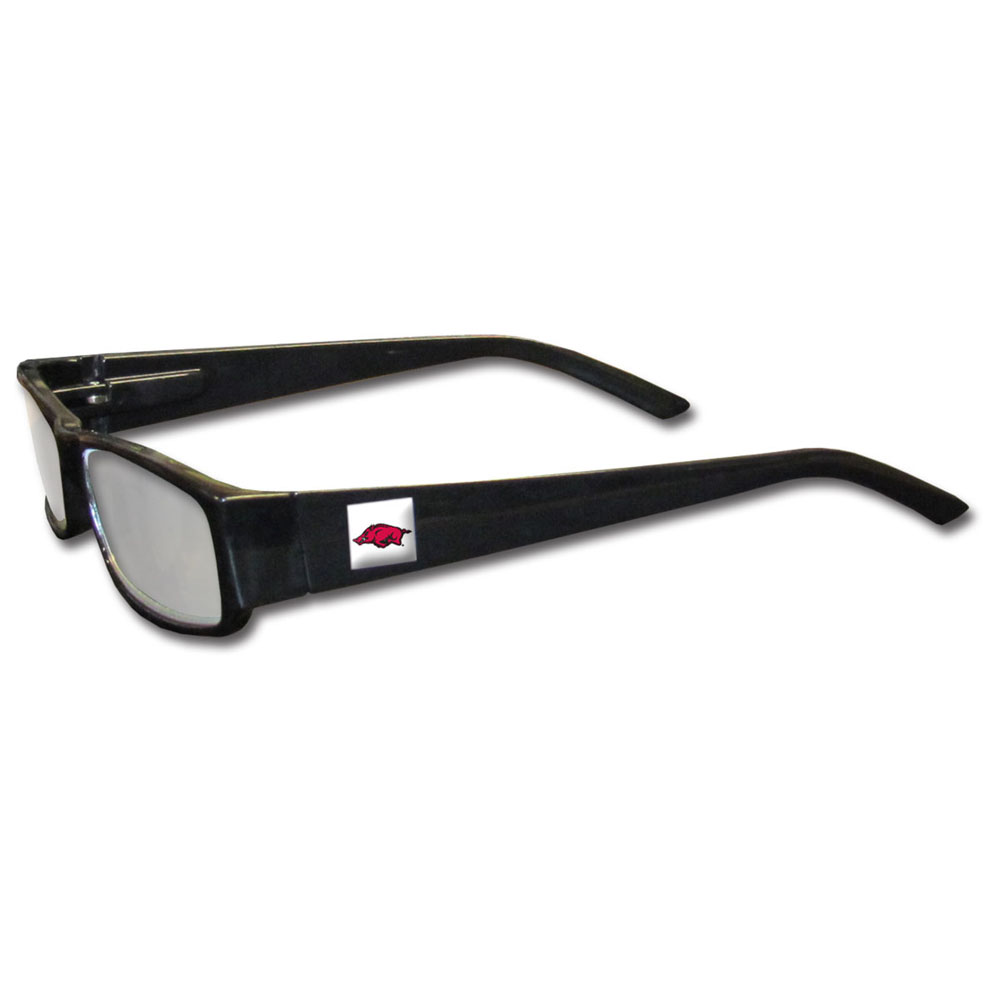 Arkansas Razorbacks Black Reading Glasses +1.25 - Our Arkansas Razorbacks reading glasses are 5.25 inches wide and feature the team logo on each arm. Magnification Power 1.25