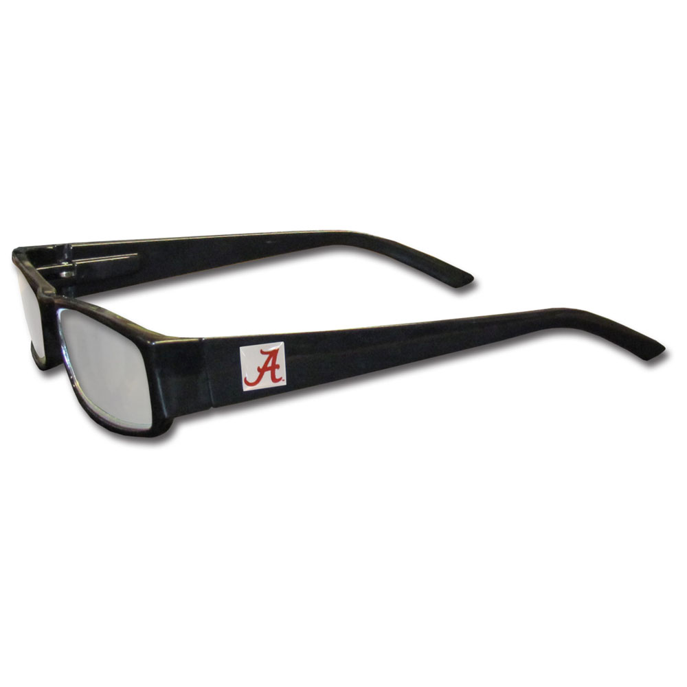 Alabama Crimson Tide Black Reading Glasses +2.50 - Our Alabama Crimson Tide reading glasses are 5.25 inches wide and feature the team logo on each arm. Magnification Power 2.50