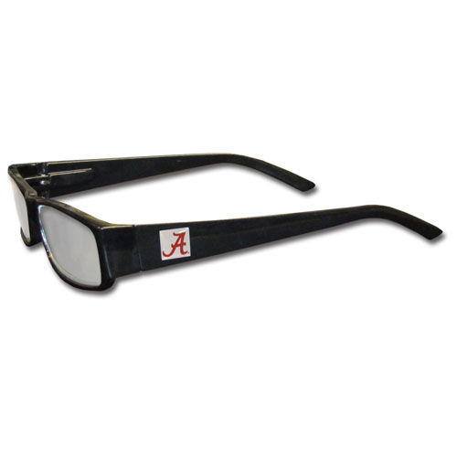 "Alabama Crimson Tide Reading Glasses  - These Alabama Crimson Tide Reading Glasses are 5.25"" wide with 5.5"" arms with black colored frames featuring the Alabama Crimson Tide logo on each arm. Thank you for shopping with CrazedOutSports.com"