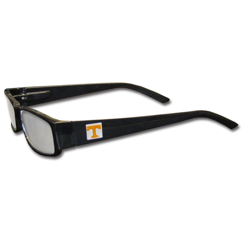 Tennessee Volunteers Black Reading Glasses  - These Tennessee Volunteers reading glasses are 5.25 inches wide and feature the team logo on each arm. Magnification Power 1.25 - 2.50.