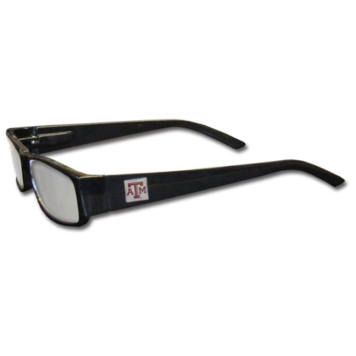 "Texas A and M Aggies Reading Glasses - These College Texas A & M Aggies Reading Glasses are 5.25"" wide with 5.5"" arms with black colored frames featuring the Texas A & M Aggies logo on each arm. Thank you for shopping with CrazedOutSports.com"