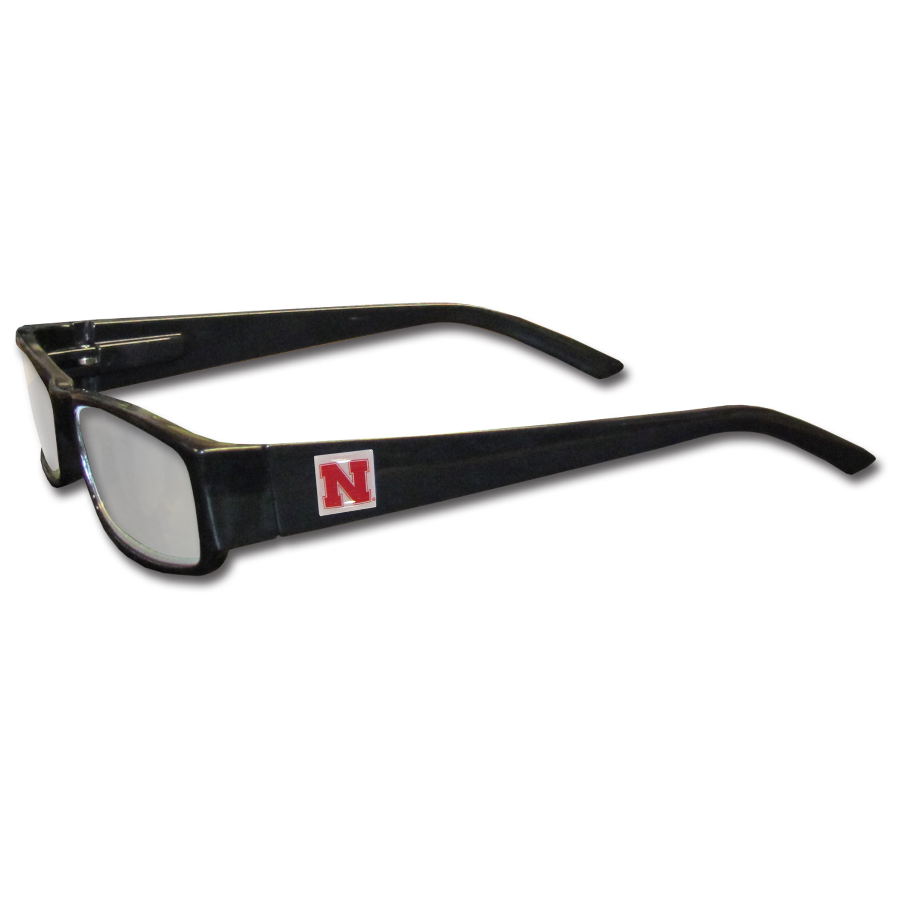 Nebraska Cornhuskers Black Reading Glasses +1.25 - Our Nebraska Cornhuskers reading glasses are 5.25 inches wide and feature the team logo on each arm. Magnification Power 1.25