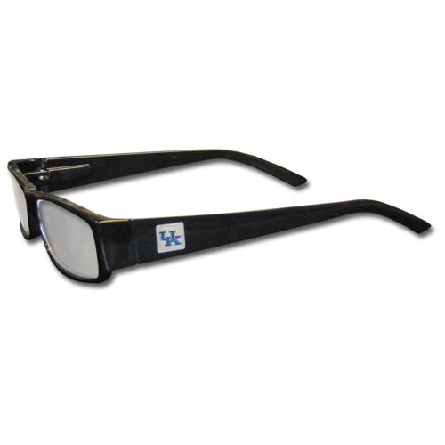 Kentucky Wildcats Black Reading Glasses +1.25 - Our Kentucky Wildcats reading glasses are 5.25 inches wide and feature the team logo on each arm. Magnification Power 1.25