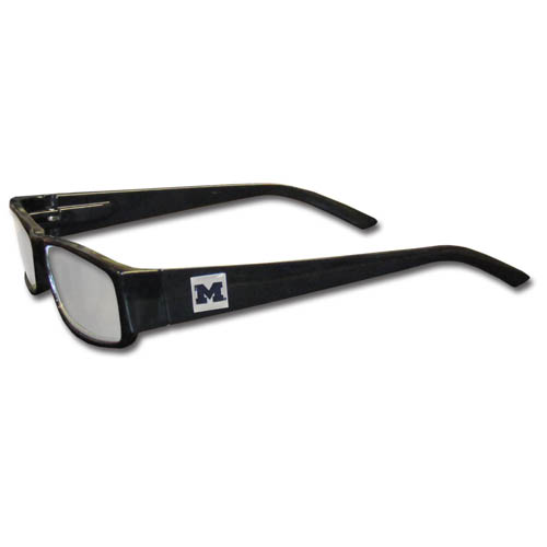 "Michigan Wolverines Reading Glasses - These Michigan Wolverines Reading Glasses are 5.25"" wide with 5.5"" arms with black colored frames featuring the Michigan Wolverines logo on each arm. Thank you for shopping with CrazedOutSports.com"
