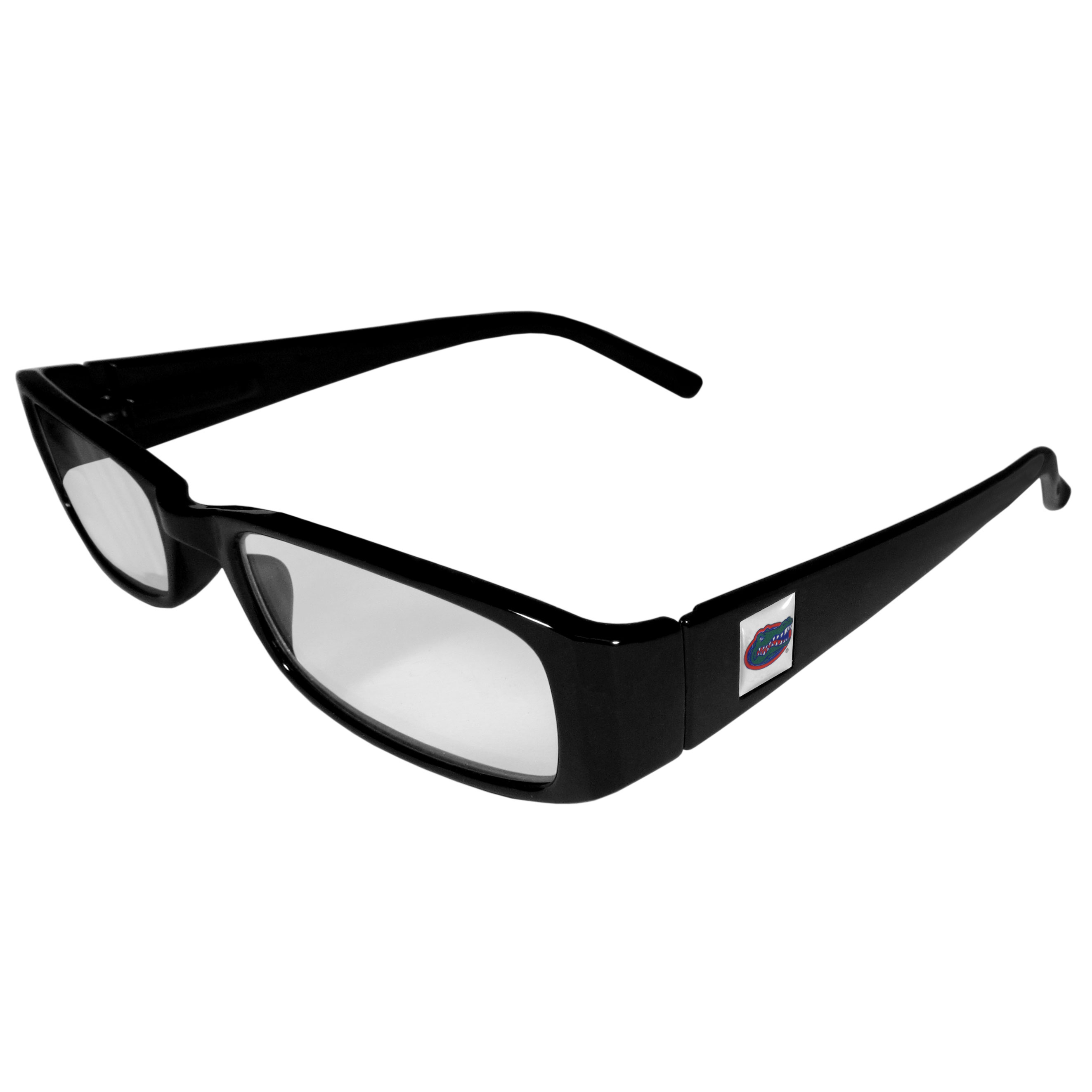 Florida Gators Black Reading Glasses +2.50 - Our Florida Gators reading glasses are 5.25 inches wide and feature the team logo on each arm. Magnification Power 2.50