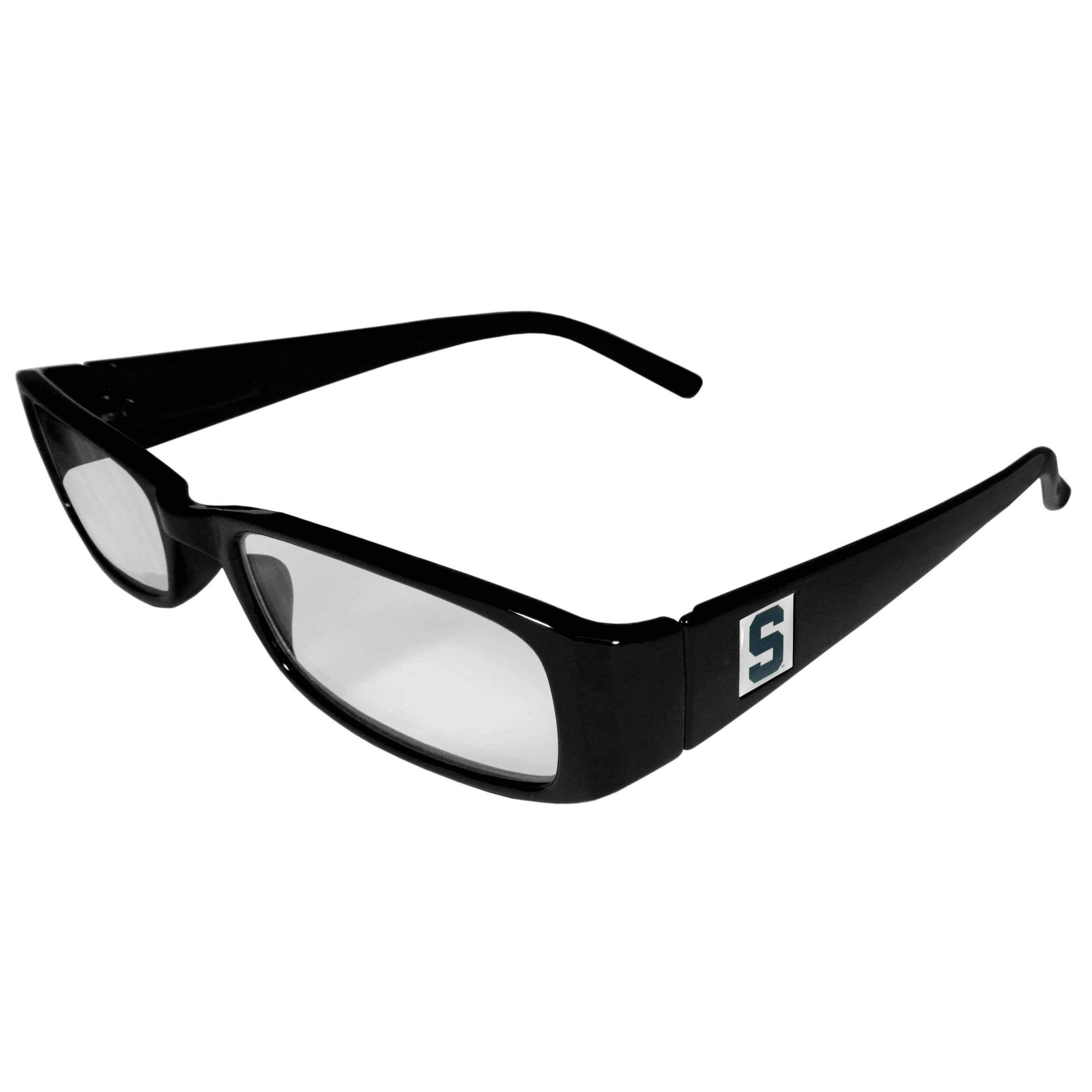 Michigan St. Spartans Black Reading Glasses +2.50 - Our Michigan St. Spartans reading glasses are 5.25 inches wide and feature the team logo on each arm. Magnification Power 2.50