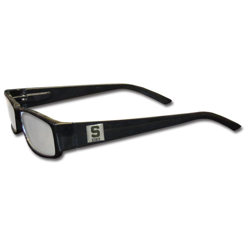 Michigan St. Spartans Reading Glasses - These College Michigan St. Reading Glasses are 5.25 inches wide with 5.5 inch arms with black colored frames featuring the Michigan St. Spartans logo on each arm. Thank you for shopping with CrazedOutSports.com