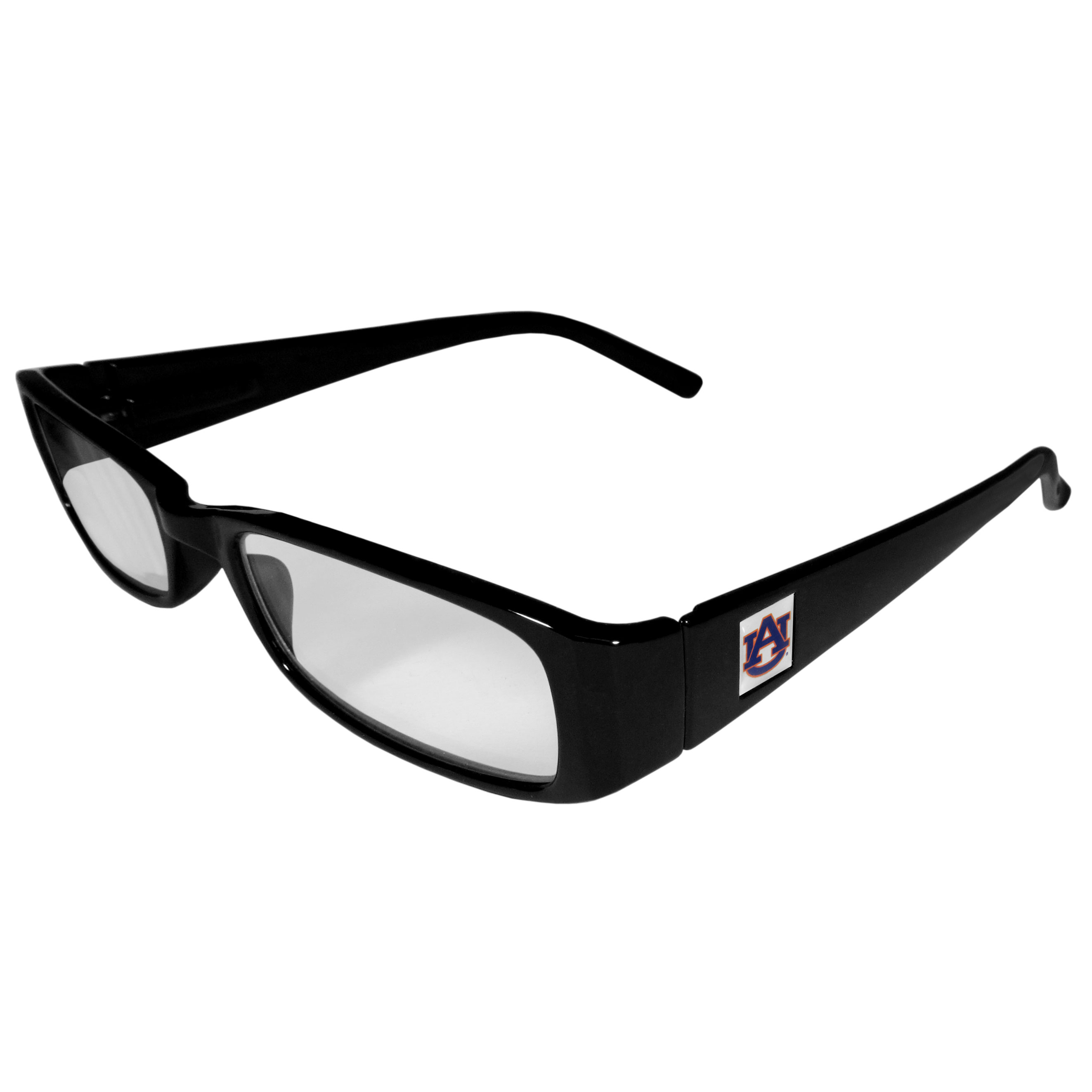 Auburn Tigers Black Reading Glasses +2.00 - Our Auburn Tigers reading glasses are 5.25 inches wide and feature the team logo on each arm. Magnification Power 2.00