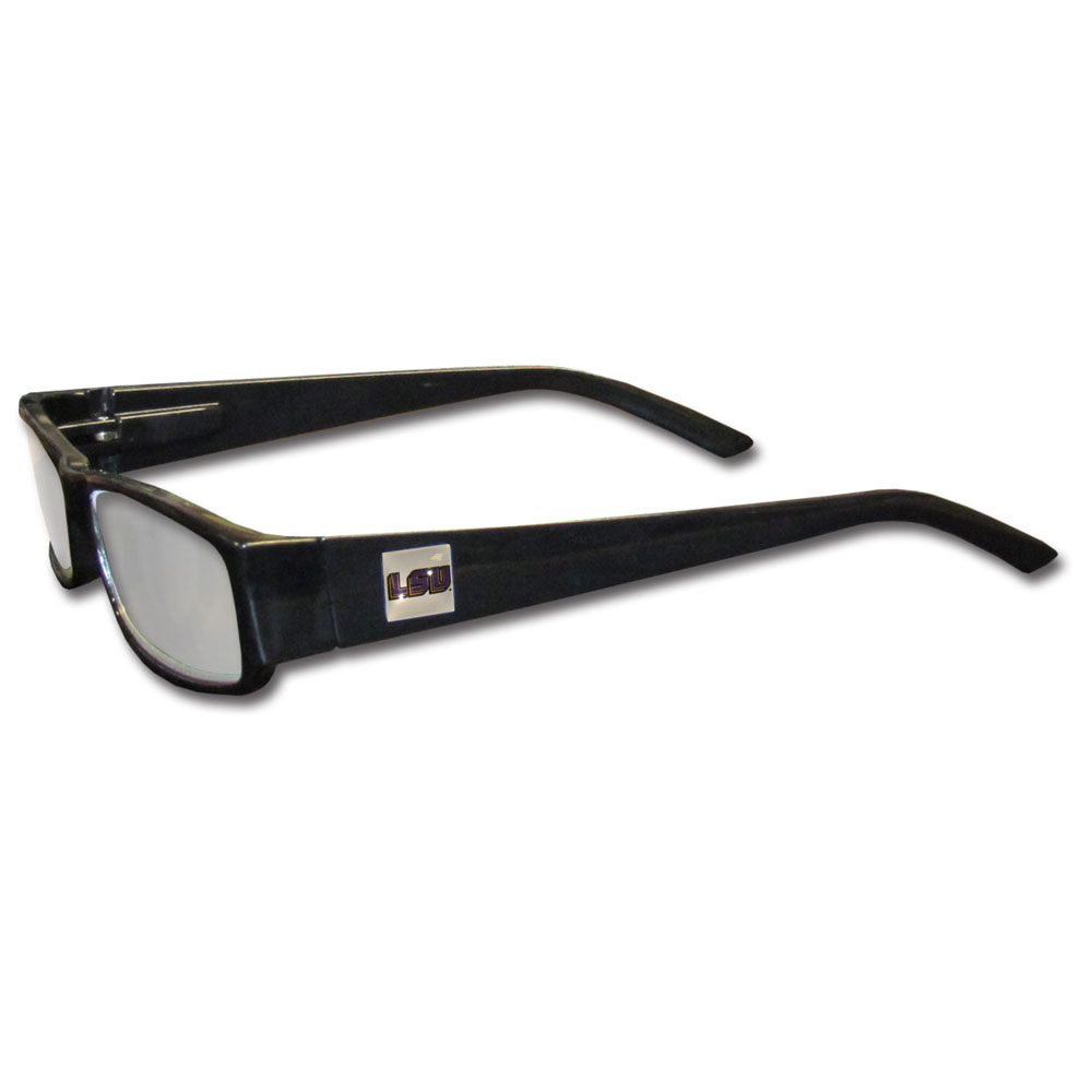 LSU Tigers Black Reading Glasses +2.50 - Our LSU Tigers reading glasses are 5.25 inches wide and feature the team logo on each arm. Magnification Power 2.50
