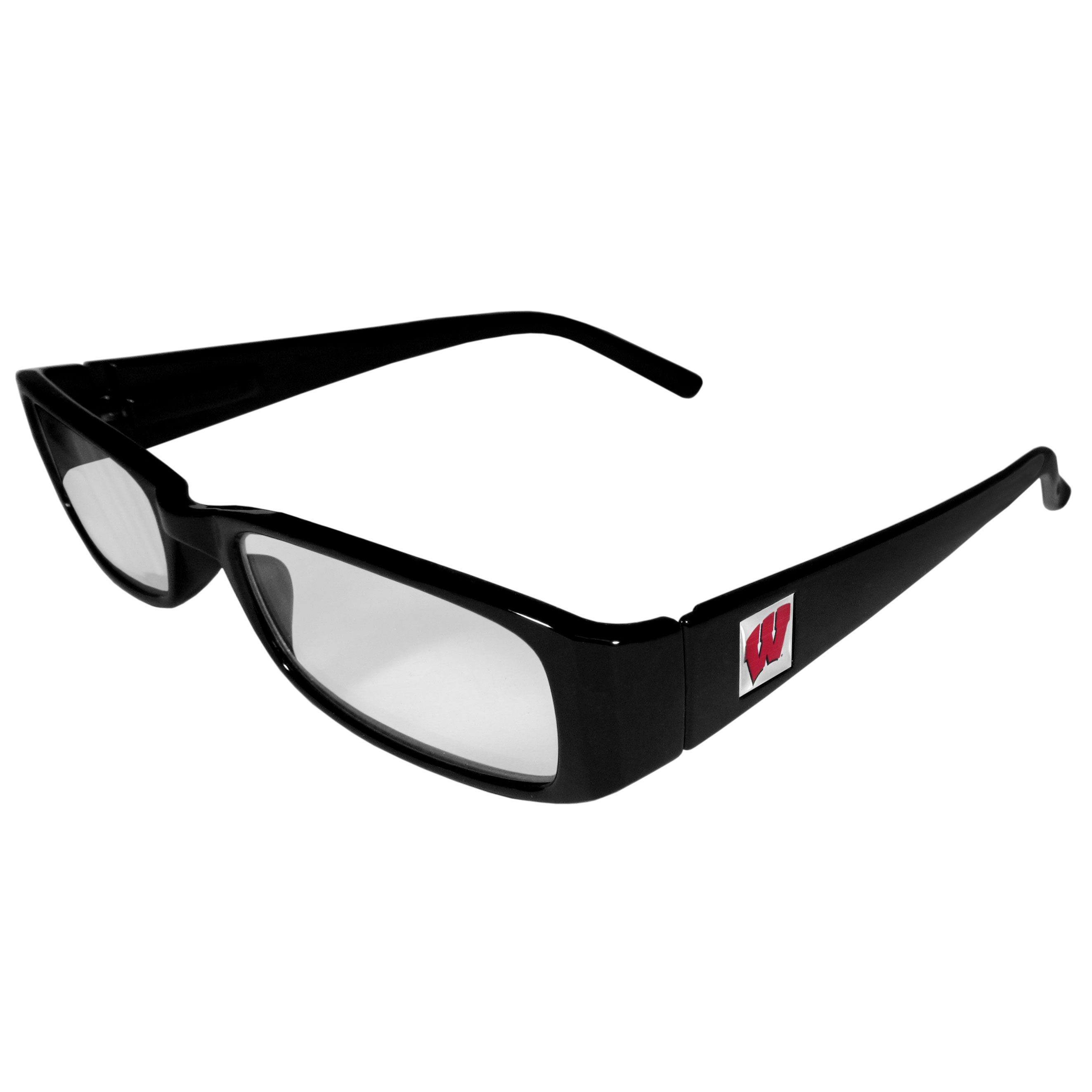 Wisconsin Badgers Black Reading Glasses +1.25 - Our Wisconsin Badgers reading glasses are 5.25 inches wide and feature the team logo on each arm. Magnification Power 1.25