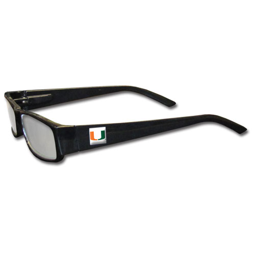 """Miami Reading Glasses - """"Our College readers glasses are 5.25"""""""" wide with 5.5"""""""" arms with black colored frames featuring the team logo on each arm. Power +2.50"""" Thank you for shopping with CrazedOutSports.com"""