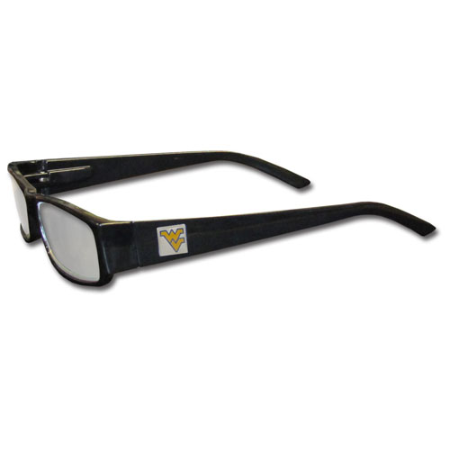 "West Virginia Mountaineers Reading Glasses - These College West Virginia Mountaineers Reading Glasses are 5.25"" wide with 5.5"" arms with black colored frames featuring the West Virginia Mountaineers logo on each arm. Thank you for shopping with CrazedOutSports.com"