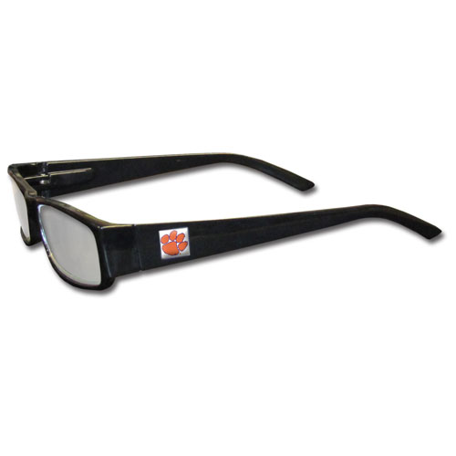 "Clemson Tigers Reading Glasses - These College Clemson Tigers Reading Glasses are 5.25"" wide with 5.5"" arms with black colored frames featuring the Clemson Tigers team logo on each arm. Thank you for shopping with CrazedOutSports.com"