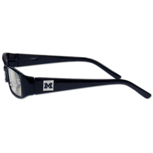 "Michigan Wolverines Reading Glasses - These College Michigan Wolverines Reading Glasses are 5.25"" wide with 5.5"" arms with Michigan Wolverines colored frames featuring the Michigan Wolverines logo on each arm. Thank you for shopping with CrazedOutSports.com"