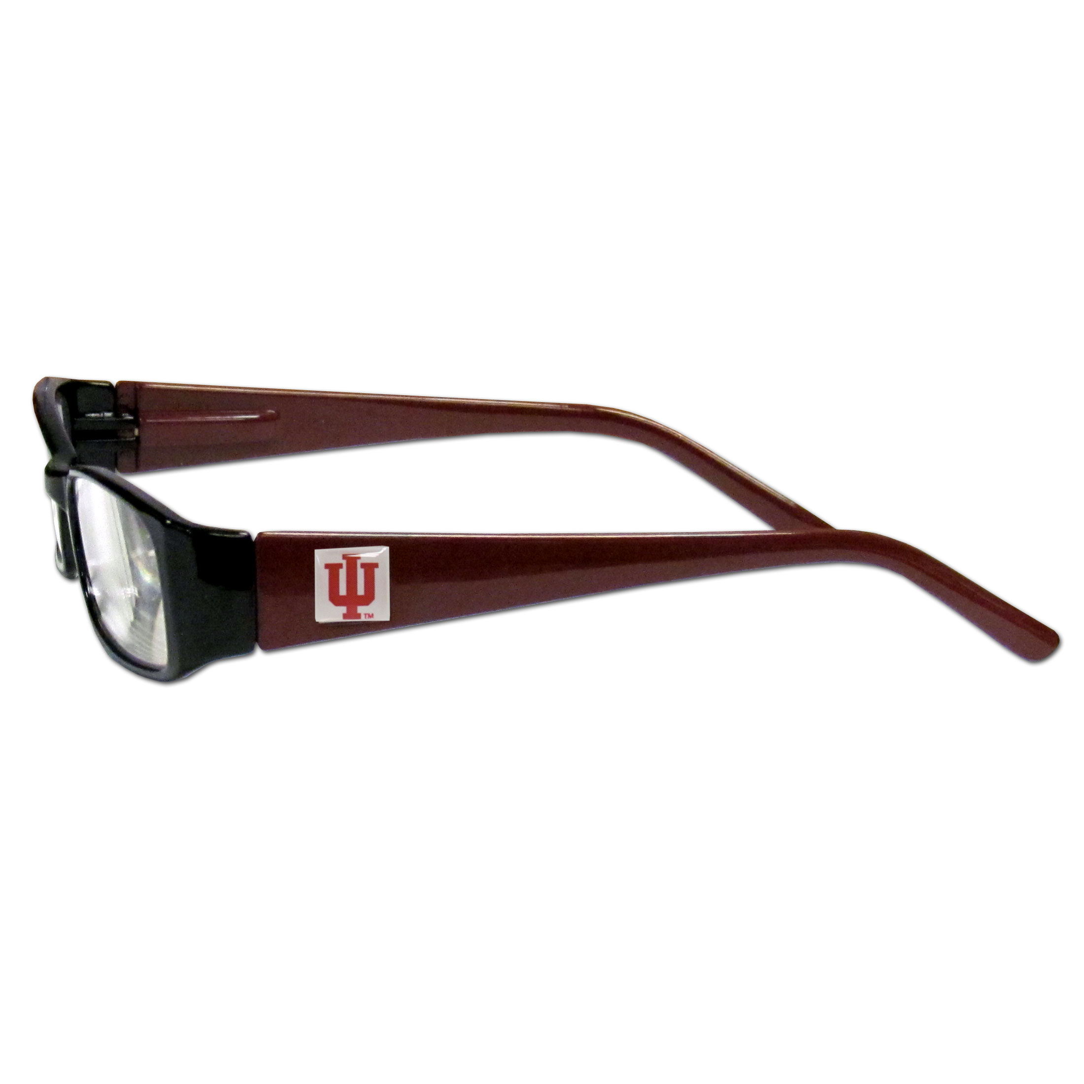 Indiana Hoosiers Reading Glasses +2.25 - Our Indiana Hoosiers reading glasses are 5.25 inches wide and feature the team logo on each arm. Magnification Power 2.25