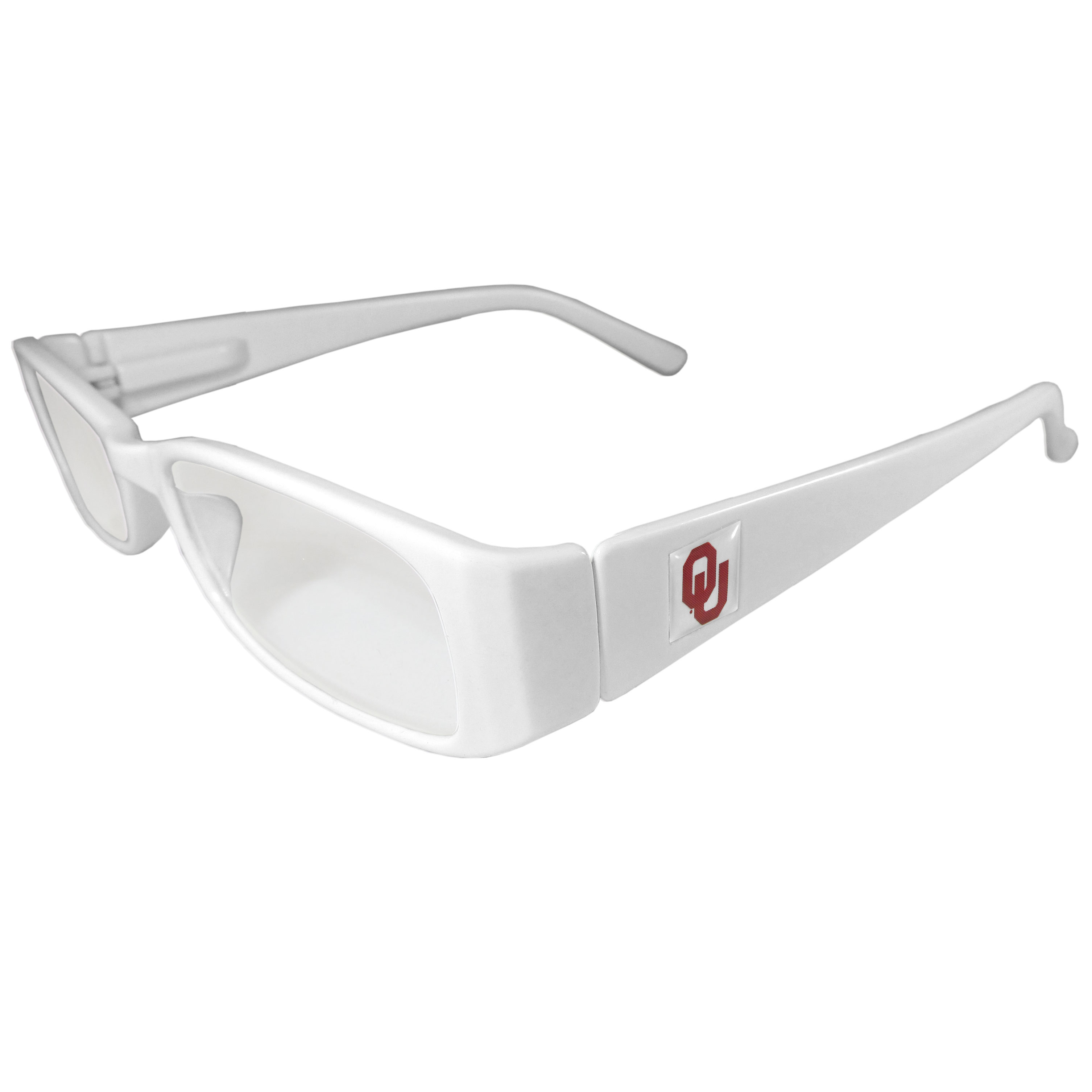 Oklahoma Sooners Reading Glasses +1.25 - Our Oklahoma Sooners reading glasses are 5.25 inches wide and feature the team logo on each arm. Magnification Power 1.25