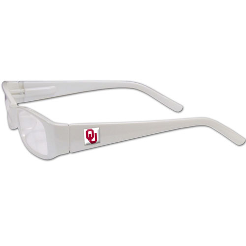 "Oklahoma Sooners Reading Glasses - These College Oklahoma Sooners Reading Glasses are 5.25"" wide with 5.5"" arms with Oklahoma Sooners colored frames featuring the Oklahoma Sooners logo on each arm. Thank you for shopping with CrazedOutSports.com"