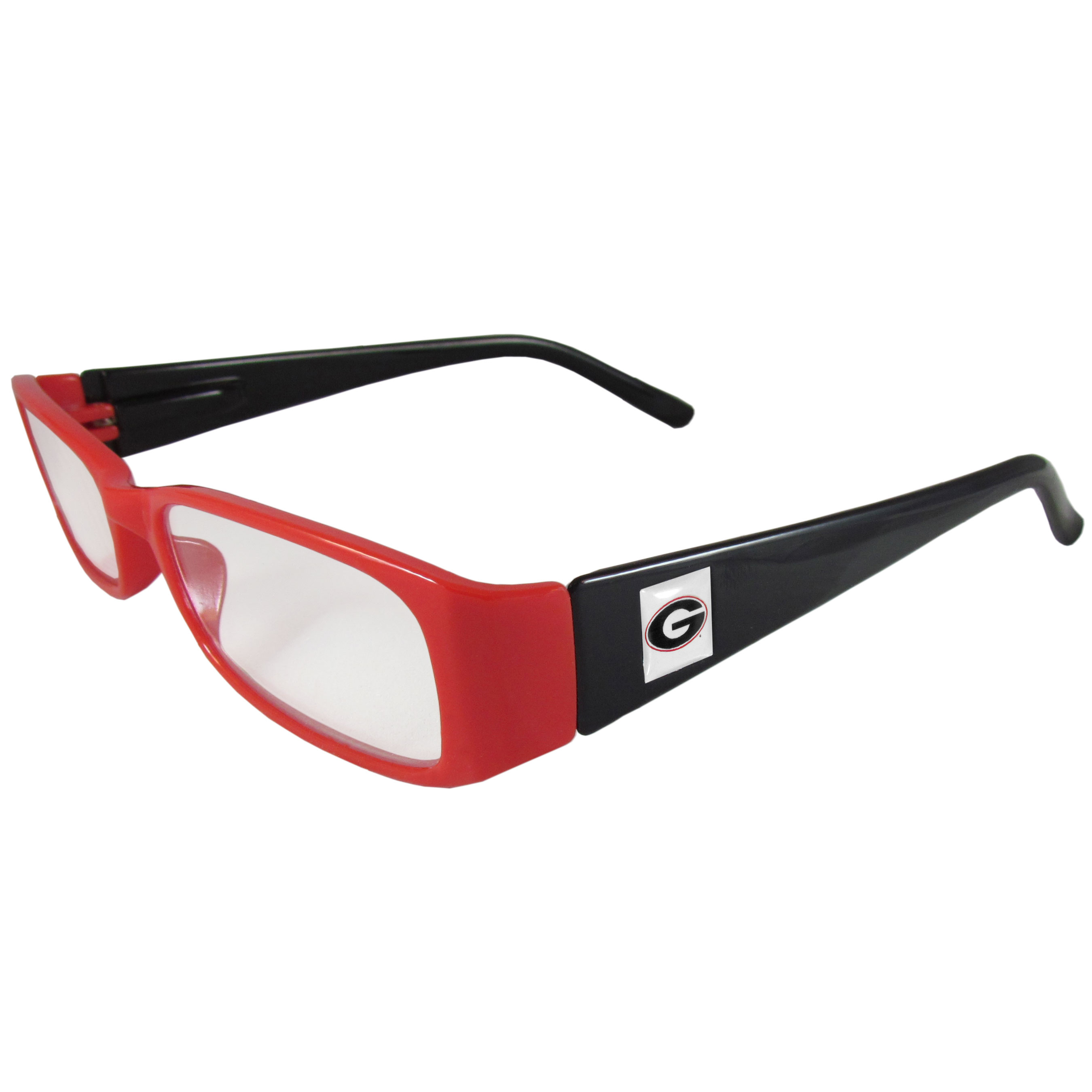 Georgia Bulldogs Reading Glasses +1.25 - Our Georgia Bulldogs reading glasses are 5.25 inches wide and feature the team logo on each arm. Magnification Power 1.25