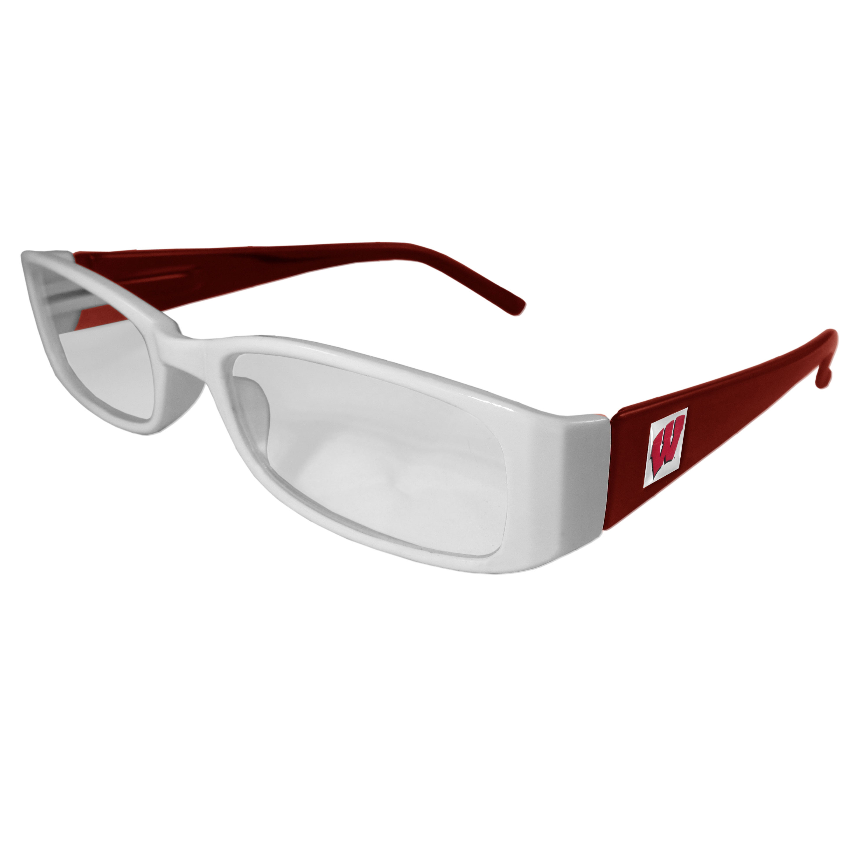 Wisconsin Badgers Reading Glasses +2.50 - Our Wisconsin Badgers reading glasses are 5.25 inches wide and feature the team logo on each arm. Magnification Power 2.50