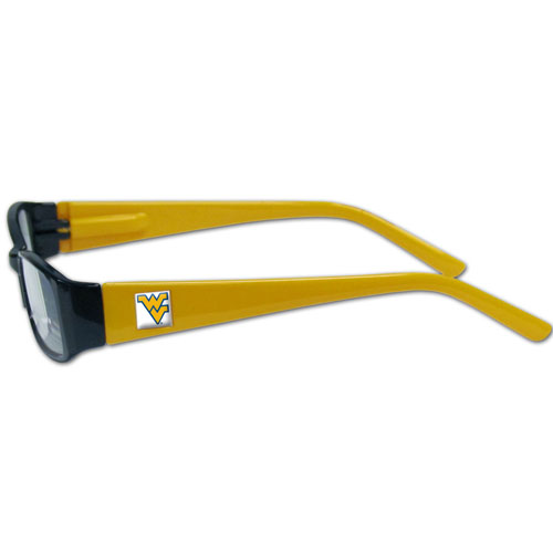 """W. Virginia Reading Glasses - """"Our College readers glasses are 5.25"""""""" wide with 5.5"""""""" arms with team colored colored frames featuring the team logo on each arm. Power +2.00"""" Thank you for shopping with CrazedOutSports.com"""