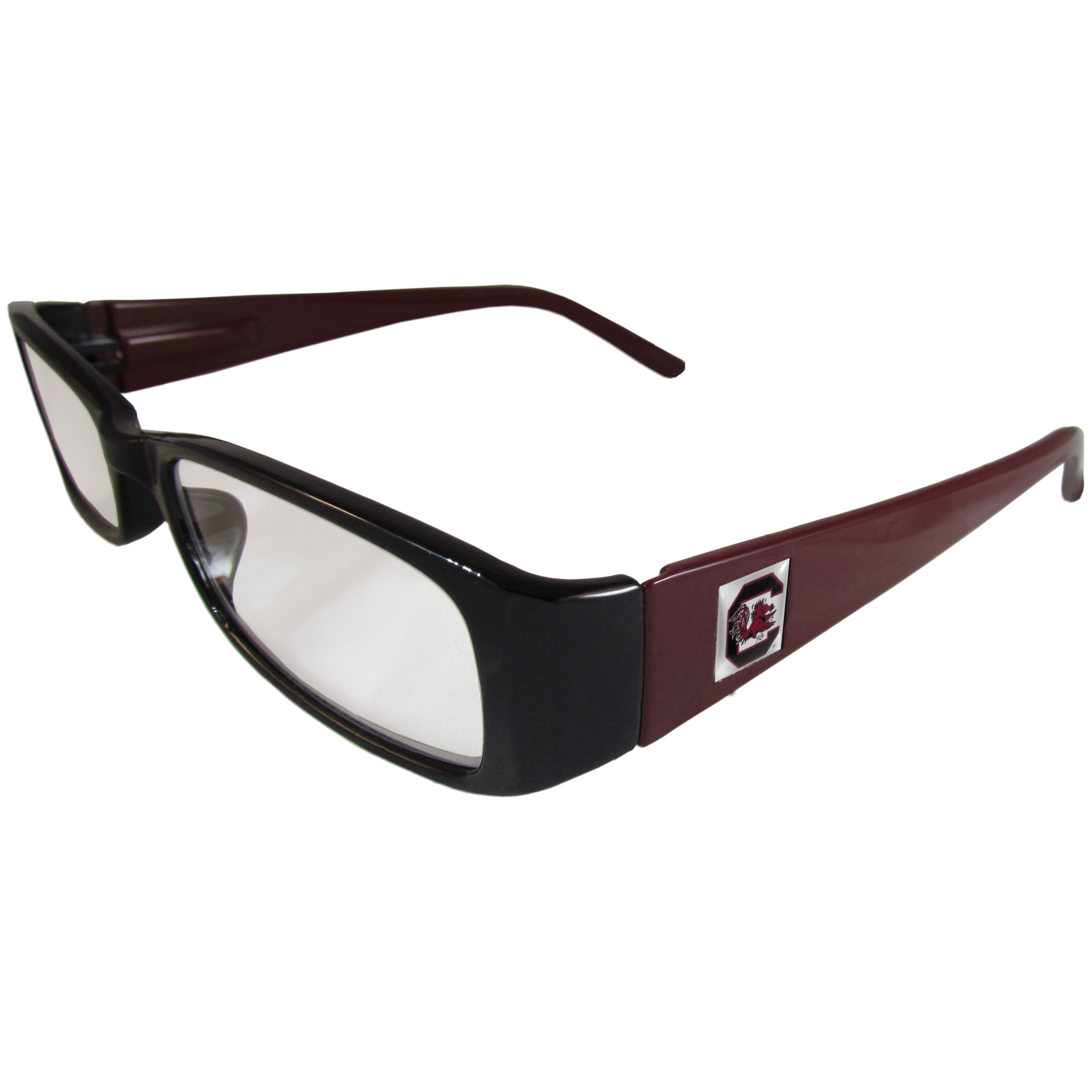 S. Carolina Gamecocks Reading Glasses +2.50 - Our S. Carolina Gamecocks reading glasses are 5.25 inches wide and feature the team logo on each arm. Magnification Power 2.50