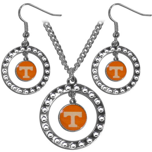 "Tennessee Volunteers Rhinestone Jewelry Set - This officially licensed collegiate jewelry set includes our rhinestone hoop earrings and pendant in an collegiate gift box. The 1"" rhinestone hoop pendant comes on an 18"" chain and is paired with the matching dangle hoop earrings. Thank you for shopping with CrazedOutSports.com"