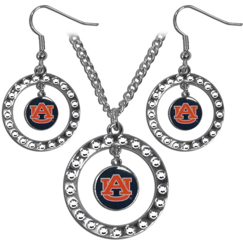 "Auburn Tigers Rhinestone Jewelry Set - This officially licensed collegiate jewelry set includes our rhinestone hoop earrings and pendant in an Auburn Tigers collegiate gift box. The 1"" rhinestone hoop pendant comes on an 18"" chain and is paired with the matching dangle hoop earrings. Thank you for shopping with CrazedOutSports.com"