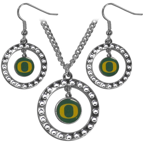 "Oregon Ducks Rhinestone Jewelry Set - This officially licensed collegiate jewelry set includes our rhinestone hoop earrings and pendant in an collegiate gift box. The 1"" rhinestone hoop pendant comes on an 18"" chain and is paired with the matching dangle hoop earrings. Thank you for shopping with CrazedOutSports.com"