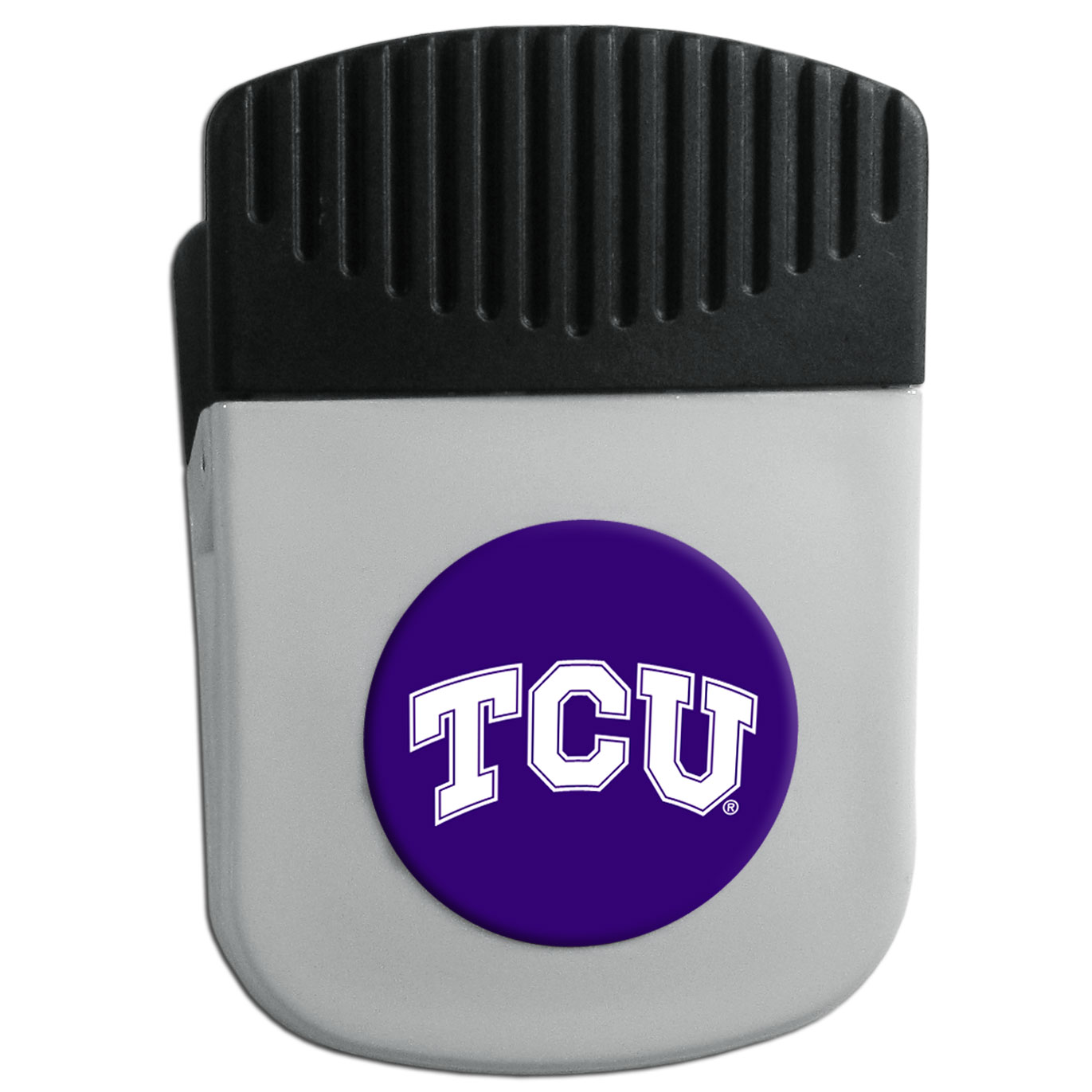 TCU Horned Frogs Chip Clip Magnet - Use this attractive clip magnet to hold memos, photos or appointment cards on the fridge or take it down keep use it to clip bags shut. The magnet features a domed TCU Horned Frogs logo.
