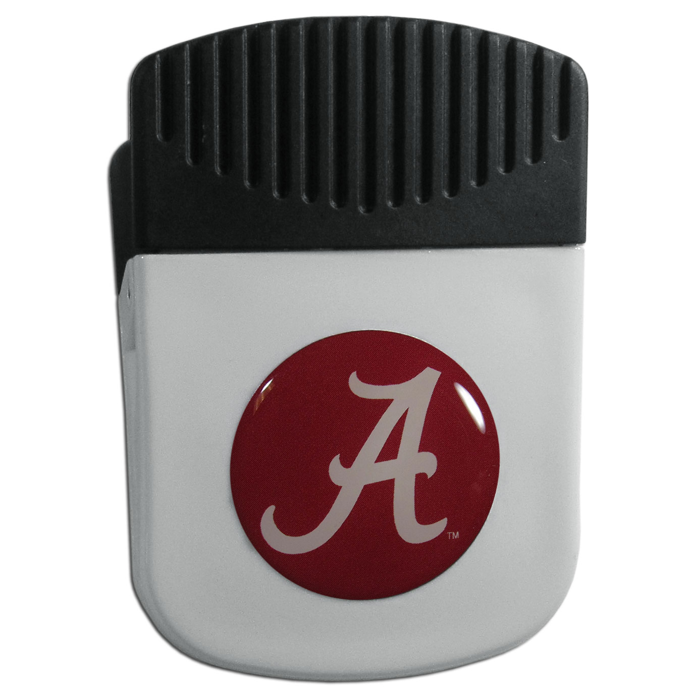 Alabama Crimson Tide Chip Clip Magnet - Use this attractive clip magnet to hold memos, photos or appointment cards on the fridge or take it down keep use it to clip bags shut. The magnet features a domed Alabama Crimson Tide logo.