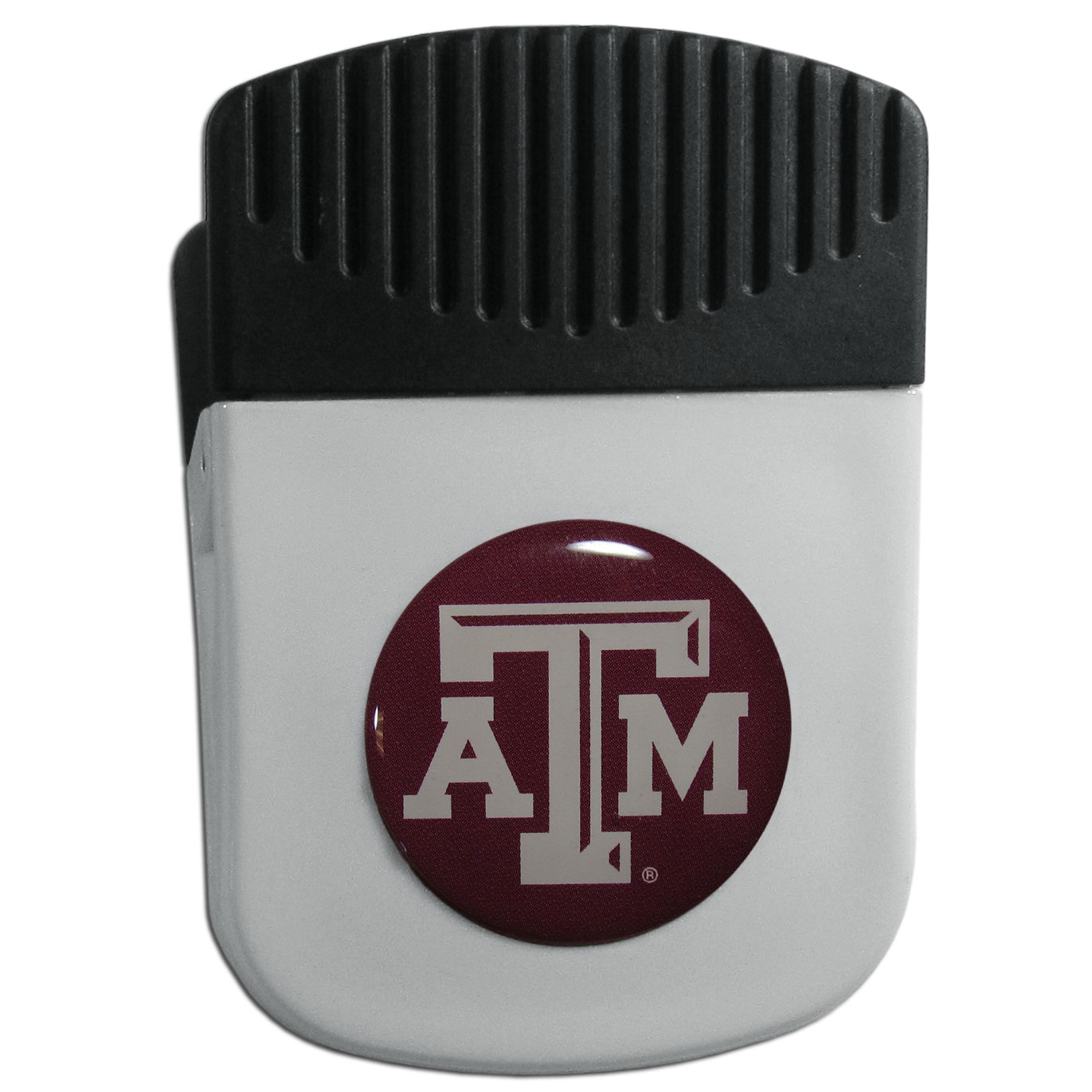 Texas A and M Aggies Chip Clip Magnet - Use this attractive clip magnet to hold memos, photos or appointment cards on the fridge or take it down keep use it to clip bags shut. The magnet features a domed Texas A & M Aggies logo.