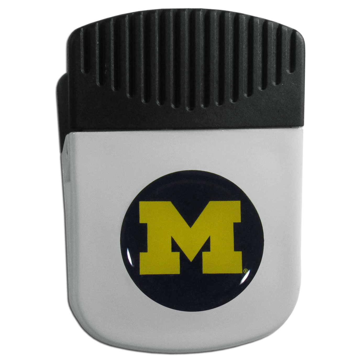 Michigan Wolverines Chip Clip Magnet - Use this attractive clip magnet to hold memos, photos or appointment cards on the fridge or take it down keep use it to clip bags shut. The magnet features a domed Michigan Wolverines logo.