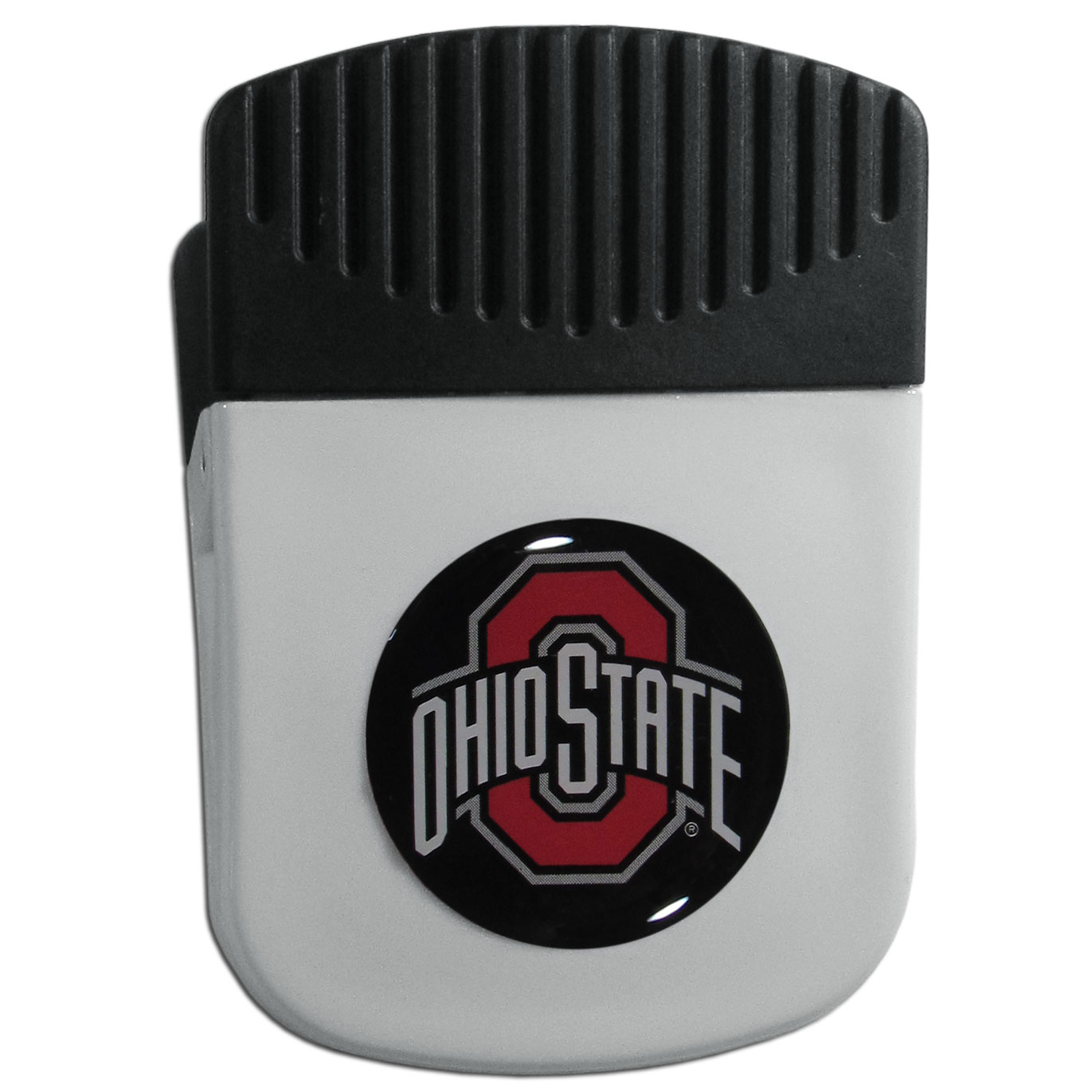 Ohio St. Buckeyes Chip Clip Magnet - Use this attractive clip magnet to hold memos, photos or appointment cards on the fridge or take it down keep use it to clip bags shut. The magnet features a domed Ohio St. Buckeyes logo.