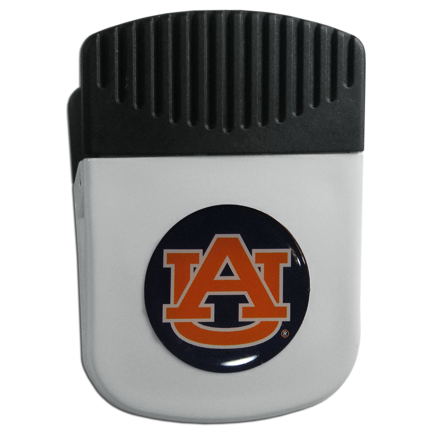 Auburn Tigers Chip Clip Magnet - Use this attractive clip magnet to hold memos, photos or appointment cards on the fridge or take it down keep use it to clip bags shut. The magnet features a domed Auburn Tigers logo.