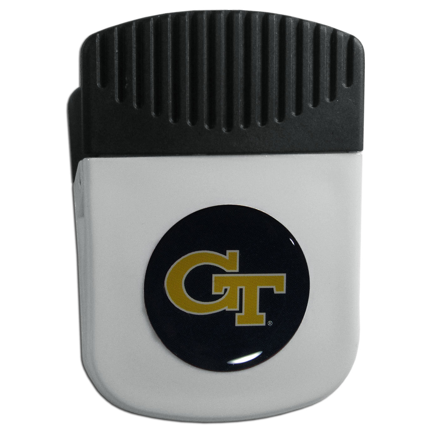 Georgia Tech Yellow Jackets Chip Clip Magnet - Use this attractive clip magnet to hold memos, photos or appointment cards on the fridge or take it down keep use it to clip bags shut. The magnet features a domed Georgia Tech Yellow Jackets logo.