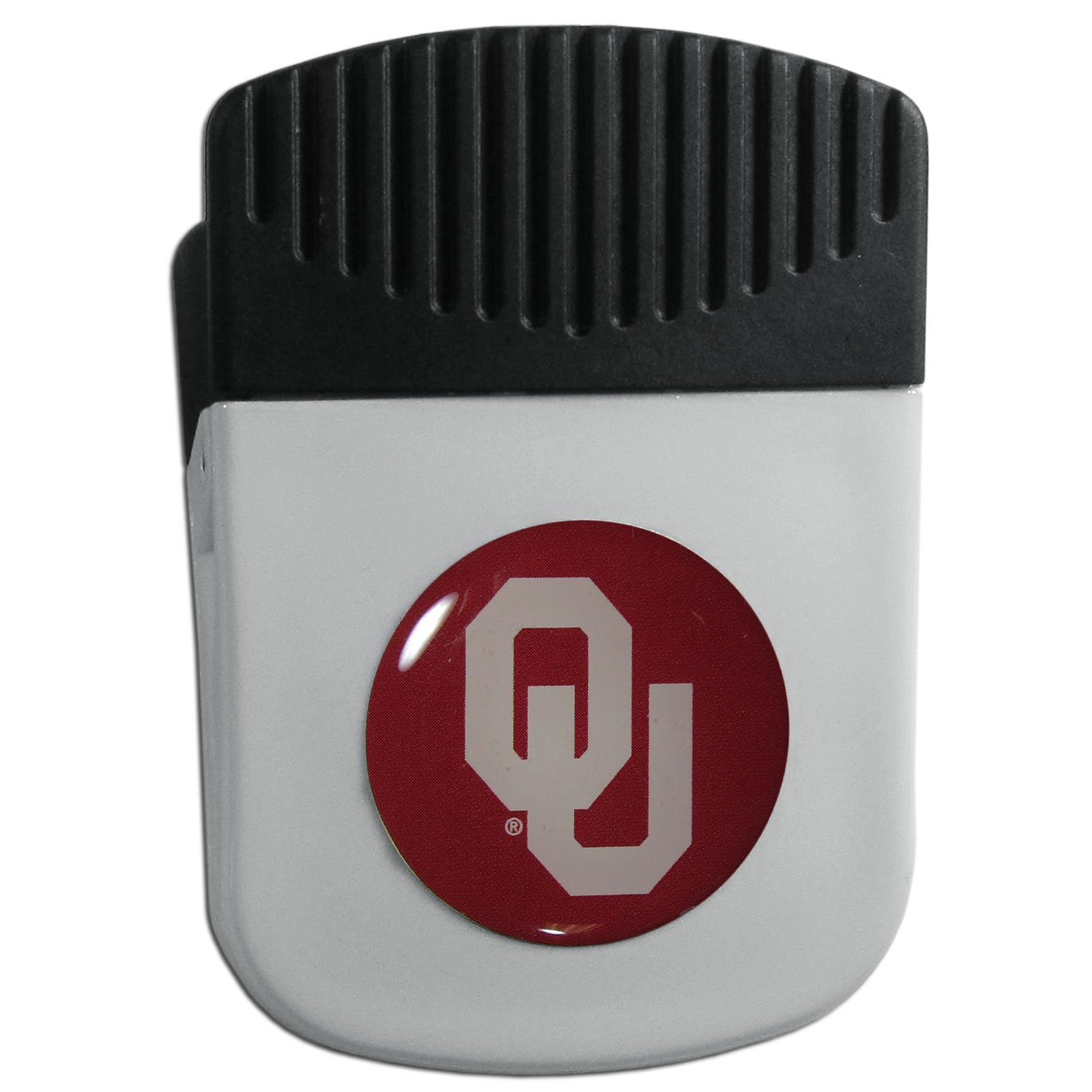 Oklahoma Sooners Chip Clip Magnet - Use this attractive clip magnet to hold memos, photos or appointment cards on the fridge or take it down keep use it to clip bags shut. The magnet features a domed Oklahoma Sooners logo.