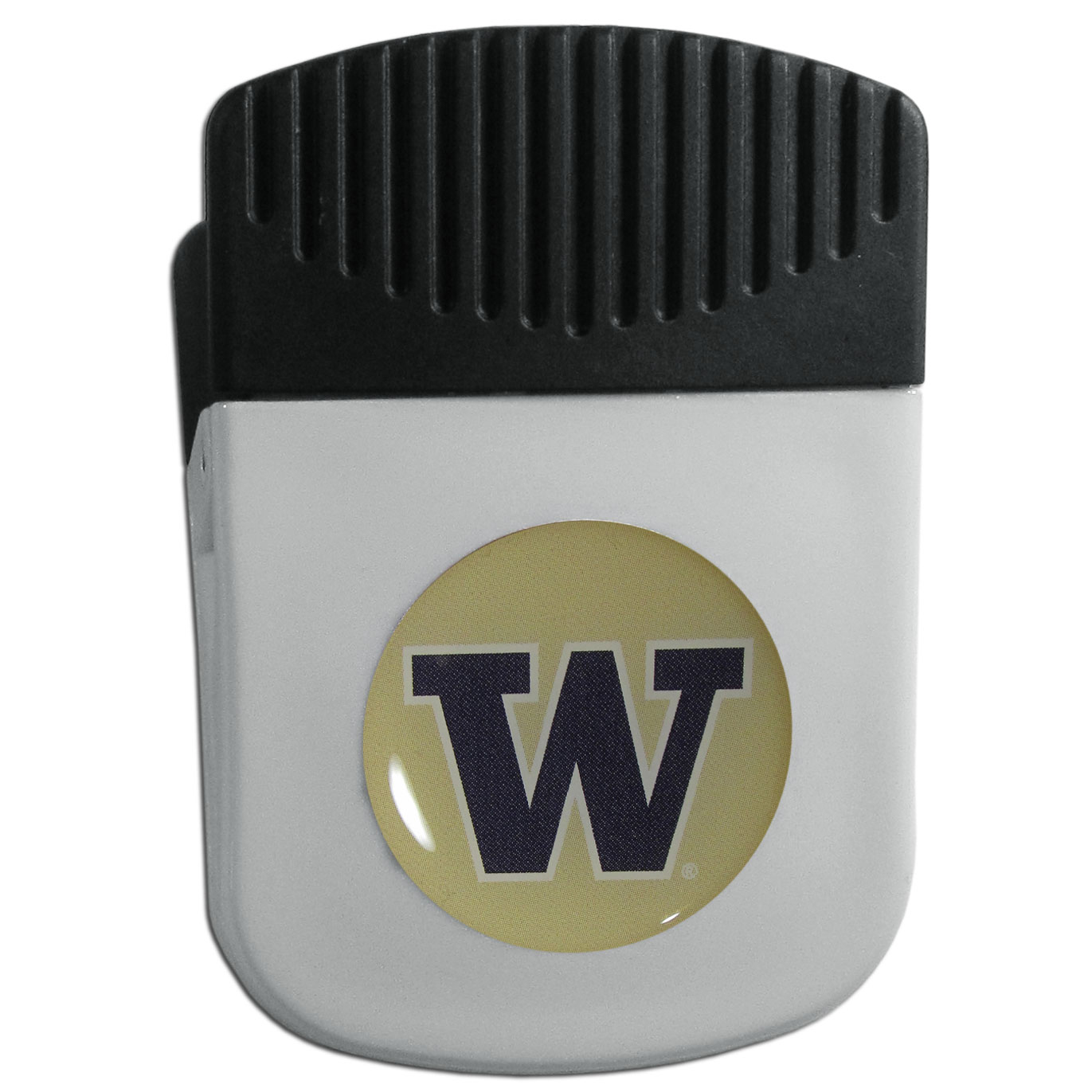 Washington Huskies Chip Clip Magnet - Use this attractive clip magnet to hold memos, photos or appointment cards on the fridge or take it down keep use it to clip bags shut. The magnet features a domed Washington Huskies logo.