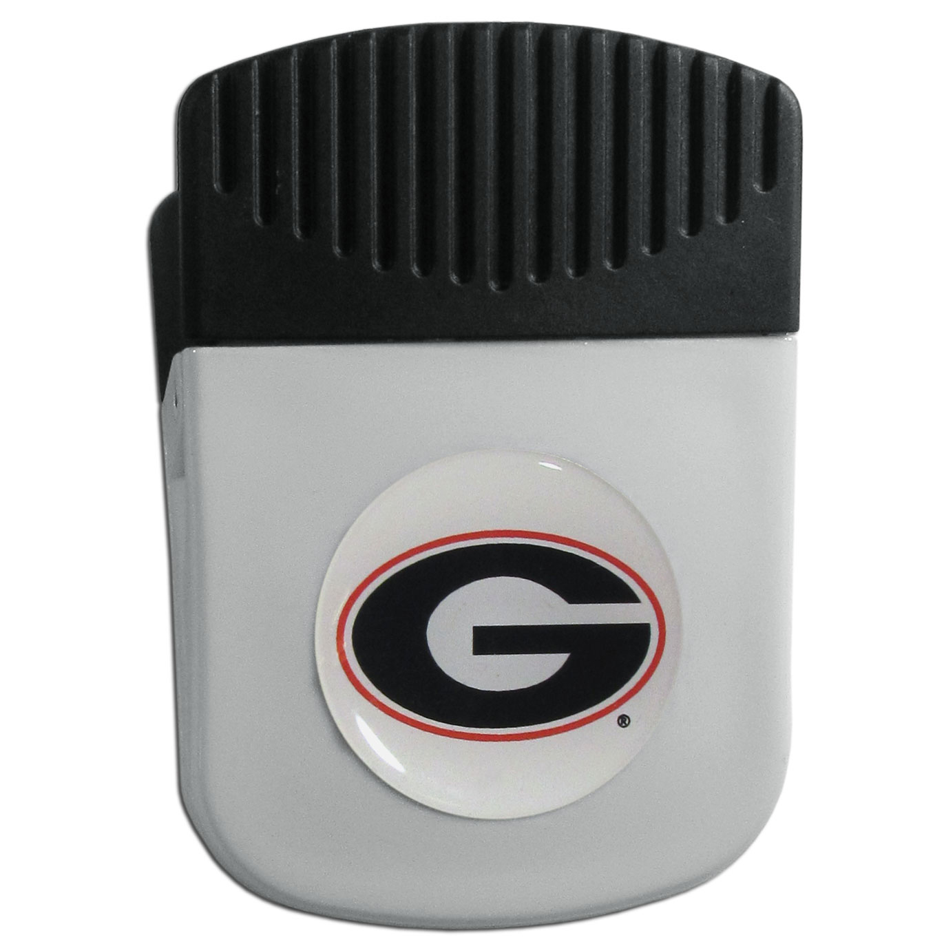 Georgia Bulldogs Chip Clip Magnet - Use this attractive clip magnet to hold memos, photos or appointment cards on the fridge or take it down keep use it to clip bags shut. The magnet features a domed Georgia Bulldogs logo.