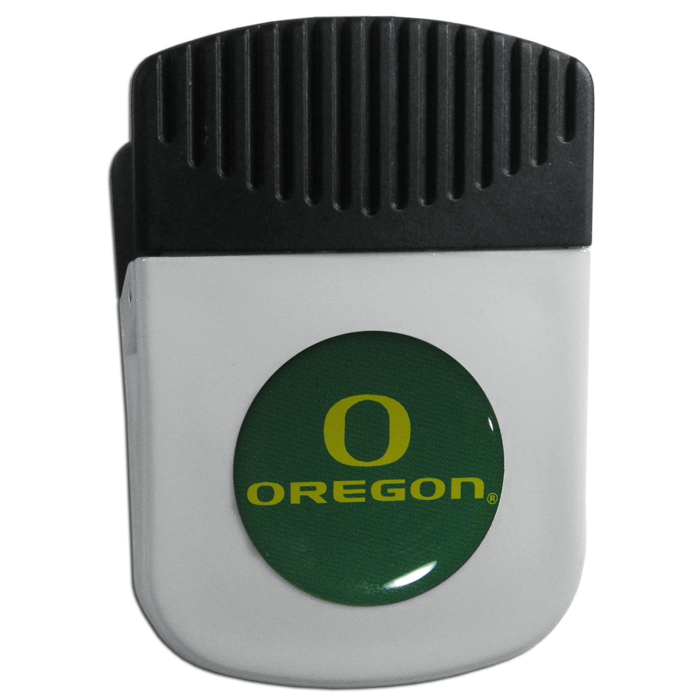 Oregon Ducks Chip Clip Magnet - Use this attractive clip magnet to hold memos, photos or appointment cards on the fridge or take it down keep use it to clip bags shut. The magnet features a domed Oregon Ducks logo.