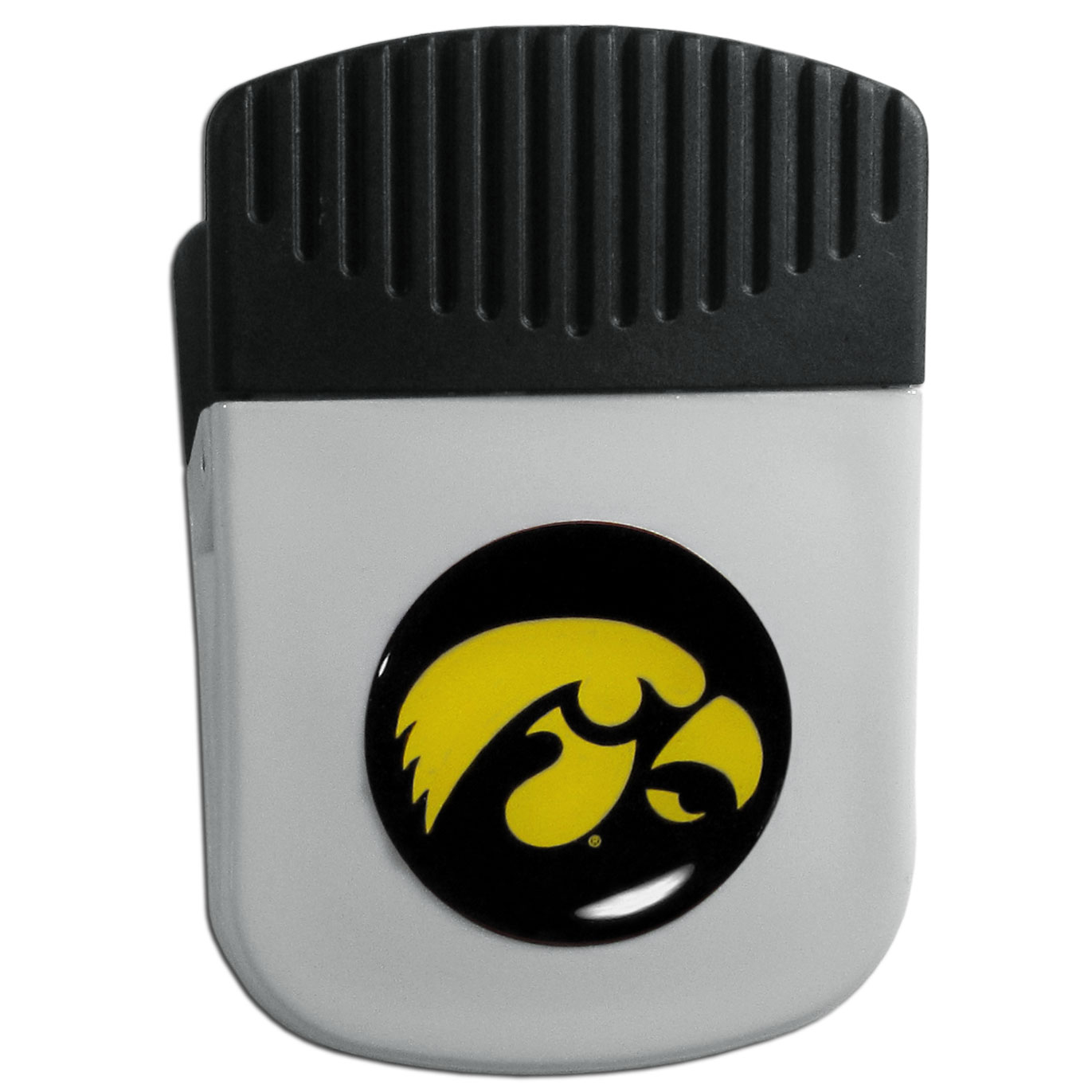 Iowa Hawkeyes Chip Clip Magnet - Use this attractive clip magnet to hold memos, photos or appointment cards on the fridge or take it down keep use it to clip bags shut. The magnet features a domed Iowa Hawkeyes logo.