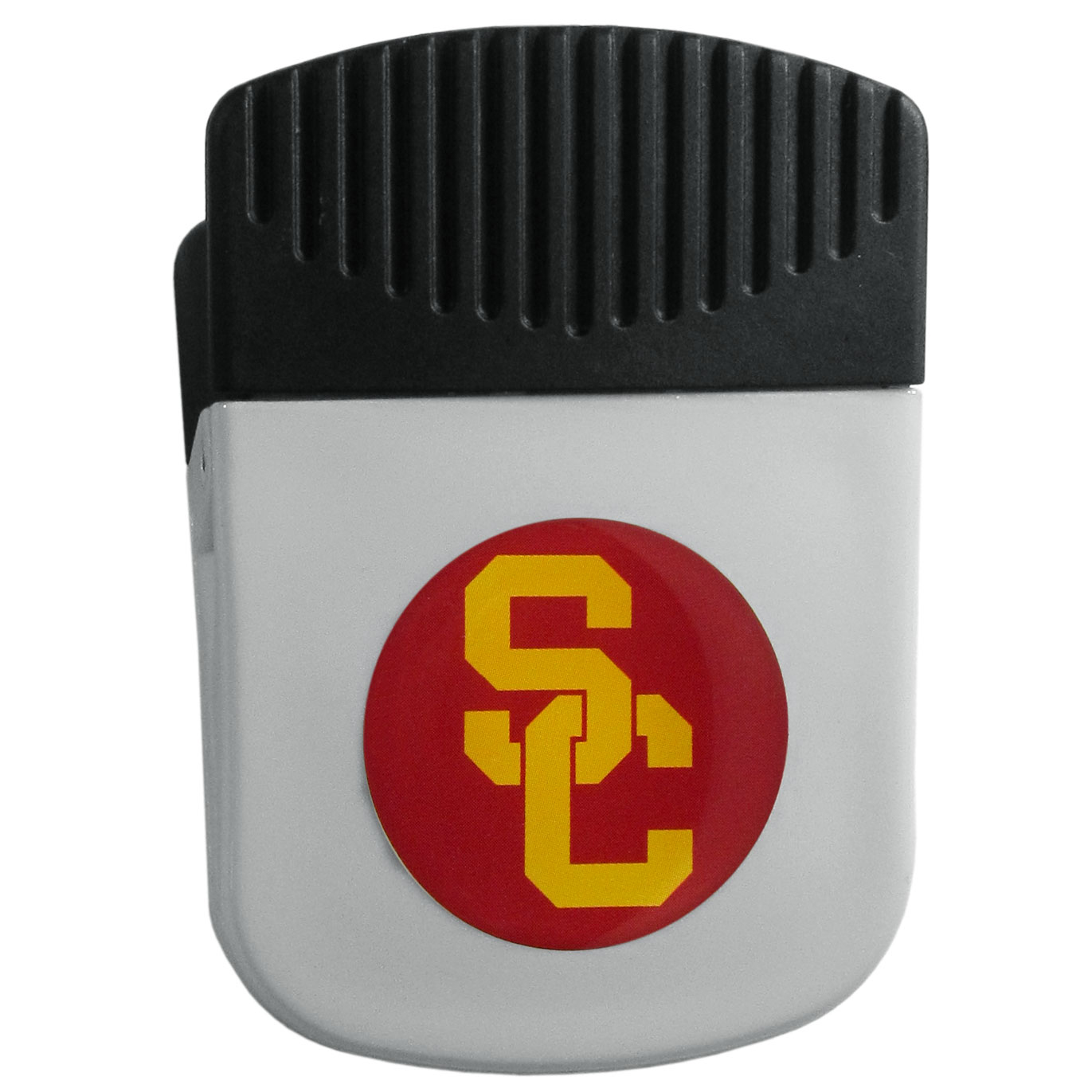 USC Trojans Chip Clip Magnet - Use this attractive clip magnet to hold memos, photos or appointment cards on the fridge or take it down keep use it to clip bags shut. The magnet features a domed USC Trojans logo.