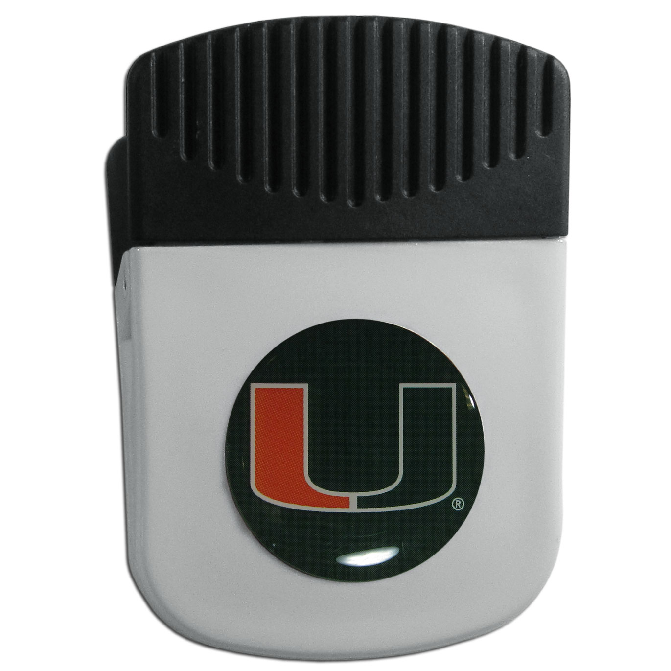 Miami Hurricanes Chip Clip Magnet - Use this attractive clip magnet to hold memos, photos or appointment cards on the fridge or take it down keep use it to clip bags shut. The magnet features a domed Miami Hurricanes logo.