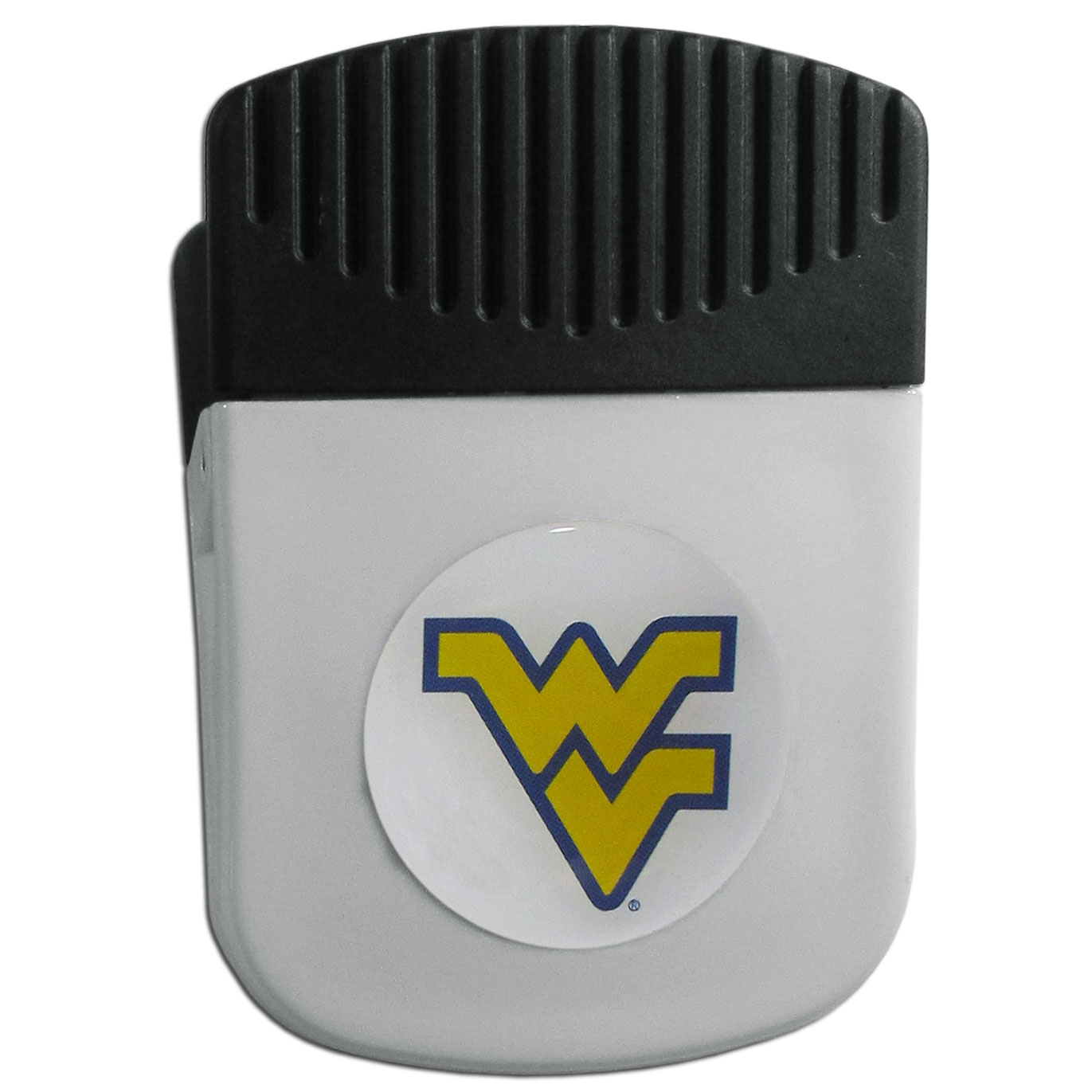 W. Virginia Mountaineers Chip Clip Magnet - Use this attractive clip magnet to hold memos, photos or appointment cards on the fridge or take it down keep use it to clip bags shut. The magnet features a domed W. Virginia Mountaineers logo.