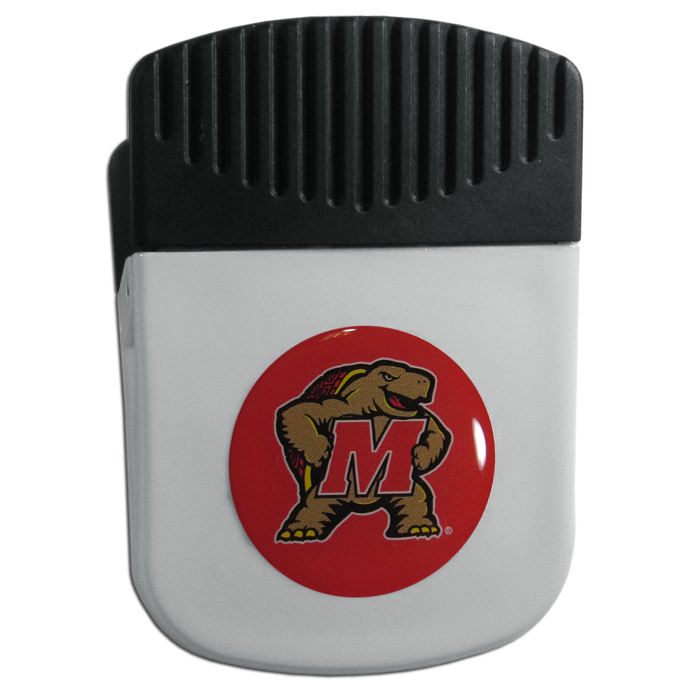 Maryland Terrapins Chip Clip Magnet - Use this attractive clip magnet to hold memos, photos or appointment cards on the fridge or take it down keep use it to clip bags shut. The magnet features a domed Maryland Terrapins logo.