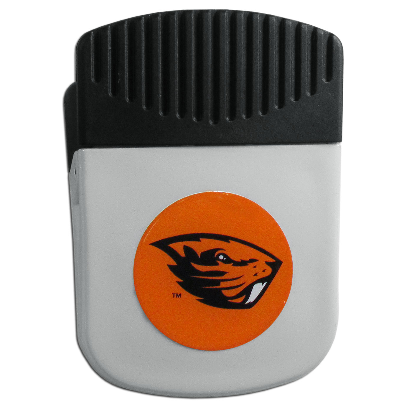 Oregon St. Beavers Chip Clip Magnet - Use this attractive clip magnet to hold memos, photos or appointment cards on the fridge or take it down keep use it to clip bags shut. The magnet features a domed Oregon St. Beavers logo.